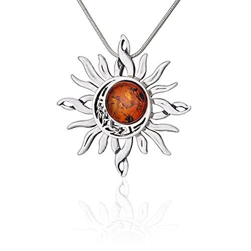 Collar de mujer de plata 925 oxidada, redondo, ámbar báltico, sol celta y luna, colgante en una cadena con una cadena de serpiente
