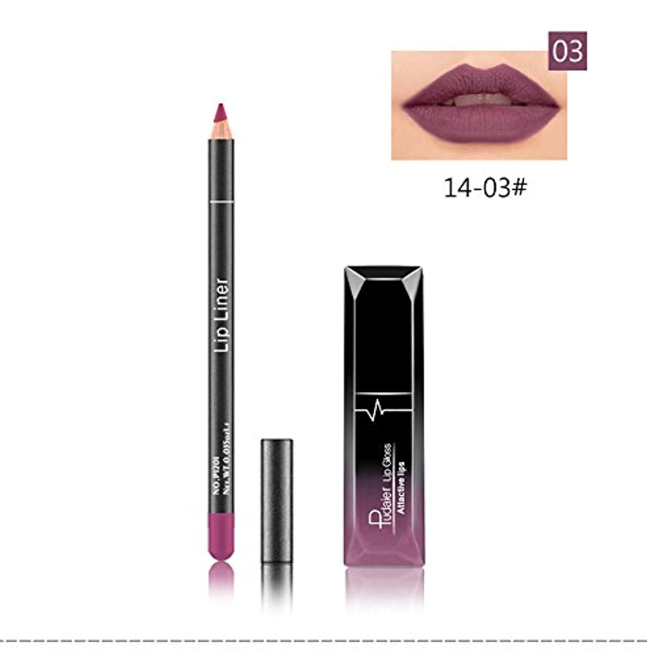 航空便理容師ファンシー(03) Pudaier 1pc Matte Liquid Lipstick Cosmetic Lip Kit+ 1 Pc Nude Lip Liner Pencil MakeUp Set Waterproof Long Lasting Lipstick Gfit
