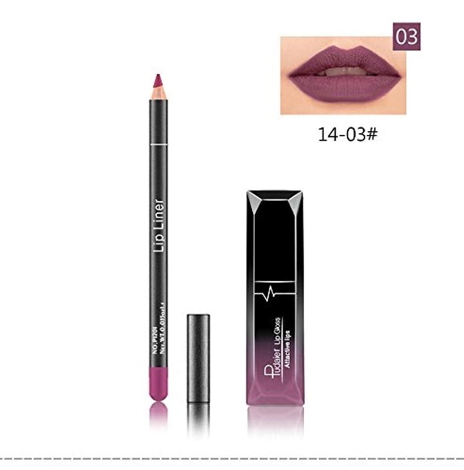 社会学報復する異常(03) Pudaier 1pc Matte Liquid Lipstick Cosmetic Lip Kit+ 1 Pc Nude Lip Liner Pencil MakeUp Set Waterproof Long Lasting Lipstick Gfit