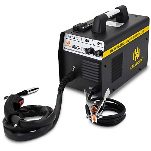 HZXVOGEN MIG Welder 220V 145A No Gas Gasless Automatic Feed Flux Cored Wire IGBT Digitial Inverter Portable Welding Machine (Model: MIG145)
