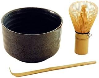 Japanese Traditional抹茶グリーンティー竹抹茶Whiskスクープとボウル3ピースギフトセットスターターキット従来Tea Ceremony 18 fl oz ブラウン