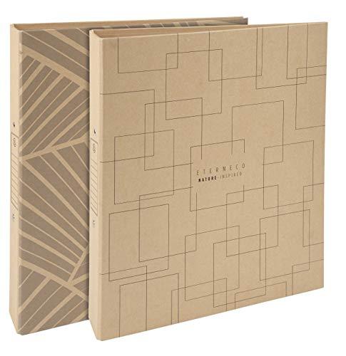 Exacompta 54947E - Carpeta de 2 anillas rigida Eterneco, Tamaño 32x25cm, 2 anillas de 3cm y lomo de 4cm, Cubierta de papel con aspecto natural y hecho con materias vegetales, visual aleatorio