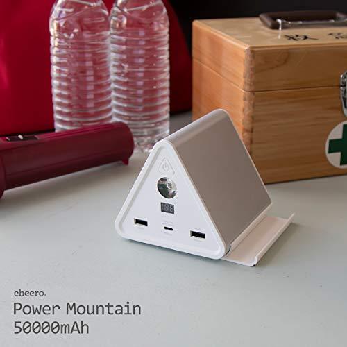 大容量モバイルバッテリーポータブル電源cheeroPowerMountain50000mAhリモートワークオンライン会議にも便利!【PSE取得済】PowerDelivery対応LEDライトデバイススタンド防滴カバー付属USBC入出力口iPhone&Android対応3ポート急速充電アルミボディーCHE-086
