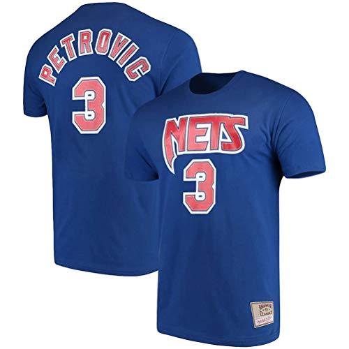 LSJ-ZZ Männer-T-Shirt Basketball Kleidung NBA Brooklyn Nets # 3 Drazen Petrovic Retro-Rundhalsausschnitt jeysey, Fitness Sports Breath Top,XXL:180~185cm