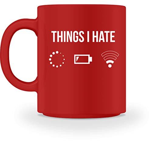 PlimPlom Things I Hate Lustige Programmierer Kaffeetasse Computer Gamer Geschenkidee - Tasse -M-Rot