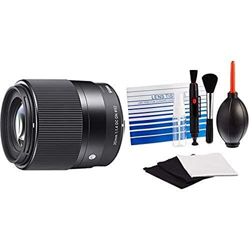 Sigma 30mm F1,4 DC DN Contemporary Objektiv (52mm Filtergewinde) für Sony-E Objektivbajonett Amazon Basics - Reinigungsset für DSLR-Kameras und empfindliche elektronische Geräte