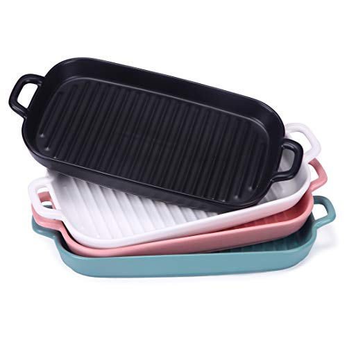BonNoces Matte Ceramic Baking Dish, Unique Rectangle Pasta Lasagna Pan with Double Handles, Shallow Baking Pan/Dinner Plates, Assorted Colors, Set of 4