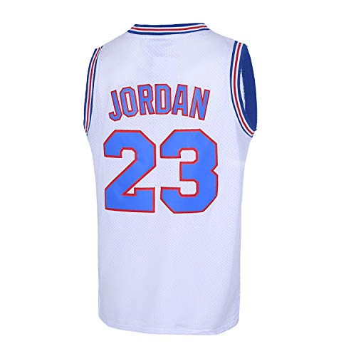 CAIYOO Mens 23# Space Movie Jersey Basketball Jersey S-XXL White/Black (White, Medium)