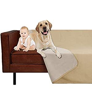 SMILETIME Waterproof Dog Throw Blanket for Bed, Water-Resistant Soft Cover for Sofa, Couch and Furniture Protector, Incontinence Bed Underpads for Cats and Pets (80 X 102 Inch, Sand and Beige)