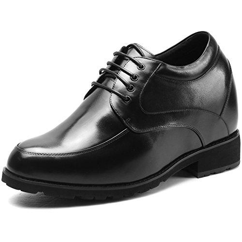 CHAMARIPA Aufzug Schuhe Männer Höhe Zunehmende Leder Schnürung Schwarz Invisible Heel Schuhe Teller 4.72 inch-H72D28K011D