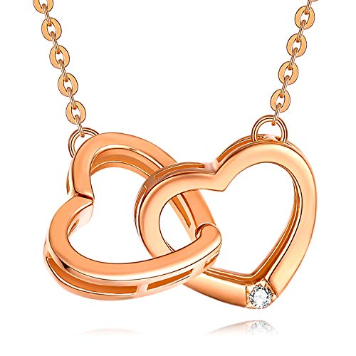 Heart Necklace for Women, 925 Sterling Silver Rose Gold Forever Love Double Heart Pendant Necklaces Christmas Jewellery Gifts Birthday Gift for Girls Her Mom