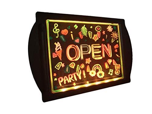 LED-Schild zum Öffnen, elektrisches Display, beleuchtet, radierbar, Neon-Acrylplatte, 36 superhelle Farbkombinationen für Bar, Nagelstudio, Smoke Shop, Hotel, Convenience Store