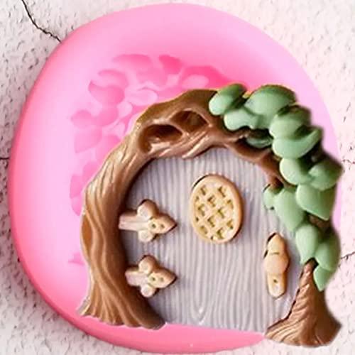 Moldes de silicona, herramientas de decoración de tartas de cumpleaños para bebés DIY, moldes de silicona para puertas de jardín de hadas, moldes de silicona para cupcakes, fondant, dulces, chocolate