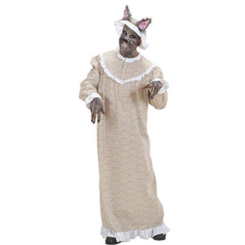 NET TOYS Böser Wolf Kostüm Rotkäppchen Omakostüm M 50 Großmutter Wolfskostüm Oma Märchenkostüm Omakostüm Kleid und Haube Wolfkostüm Rotkäppchenkostüm Karnevalskostüme Märchen Herren