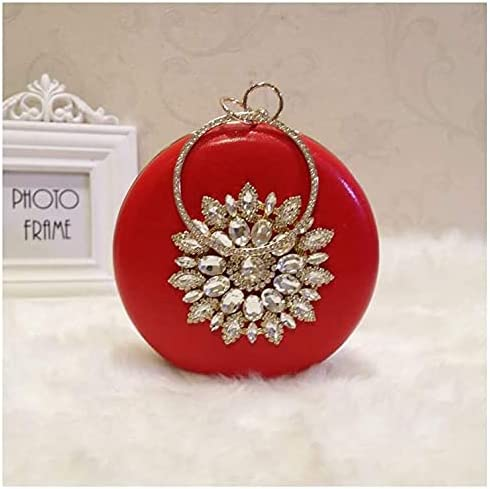 Women's Evening Handbags Rhinestone Round Ball Hand Bag Japanese and Korean Fashion Simple Wild Chain (Color : Red)