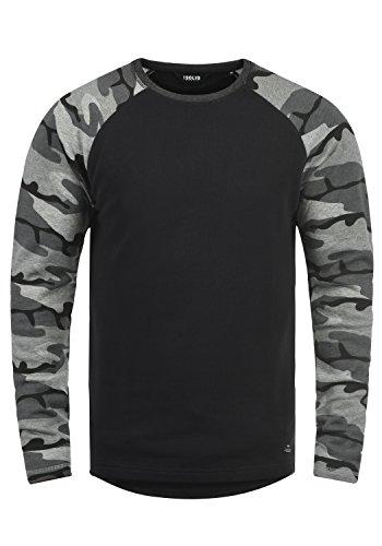 !Solid Cooper Herren Sweatshirt Pullover Pulli Baseball-Sweatshirt Mit Rundhals Und Camouflage-Ärmeln Aus 100% Baumwolle, Größe:L, Farbe:Black Cam (C9000)