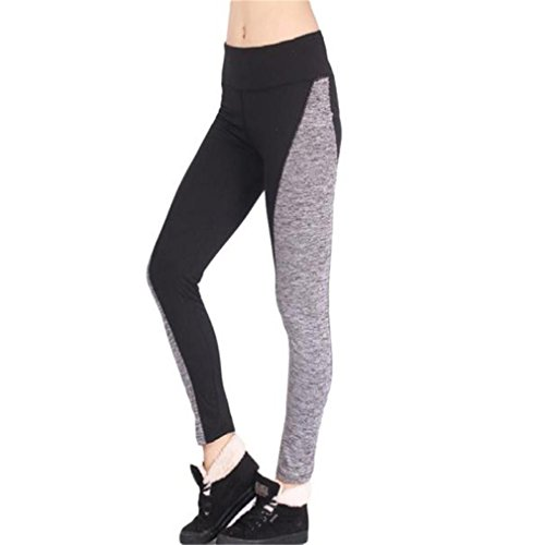 Legging Pantalon de Sport Femme Yoga Fitness Gym Pilates Gaine large super doux Coton pantalon harem yogapilates Patchwork GongzhuMM (2XL, NOIR)