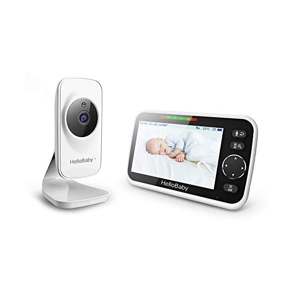 Video Baby Monitor with Camera and Audio, 5″ Color LCD Screen, HelloBaby Monitor Camera, Infrared Night Vision, Temperature Display, Lullaby, Two Way Audio and VOX Mode, HB50