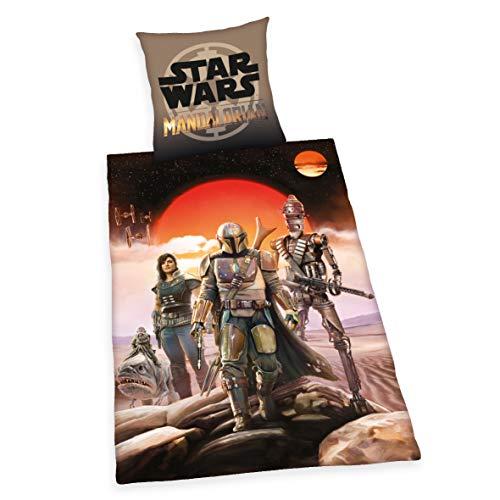 Herding Star Wars Mandalorian Juego de Cama, algodón, Multicolor, 70 x 90 cm, 140 x 200 cm