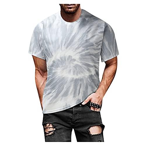 Camiseta de manga corta para hombre, para verano, ajustada, informal, estampada, de manga corta A_gris XL