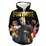 Fortnite Youth 3D Games Hoodies Graphic Hooded Sweatshirt Printed Pullover with Pocket for Boys Girls (S, Black)