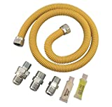 Dormont SmartSense Gas Appliance Connector Kit (0222530) XL30C-313MV6KIT-TS-48B-5/8 In. OD ID 3/4 1/2 In. MIP EFV-TS X Length, 0, Yellow Coated, 48 In