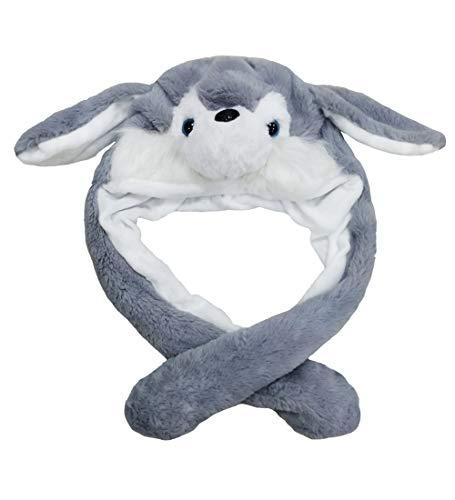 dressfan Dame Mädchen Plüsch Tier Ohr Hut Spielzeug Geburtstagsgeschenk mit Beweglichen Ohren Drücken der Tiermütze Machen die Ohren Bewegen Mädchen Cosplay (S-Grau)