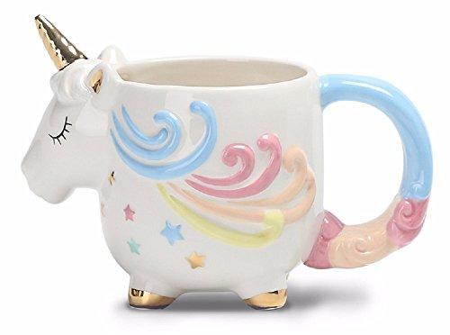 Taza mágica con forma de unicornio con bonito acabado pintado a mano.