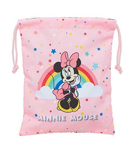 Safta Saquito Merienda Lunch Bag de Minnie Mouse Rainbow, 200x250mm, Rosa Claro