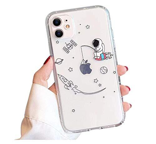 WODETIAN Compatible con iPhone 12 / 12Pro / 12 Pro MAX para Astronauta Creativa Transparente Diseño De Dibujos Animados Suave De TPU Protector Delgado A Prueba De Golpes,B,12