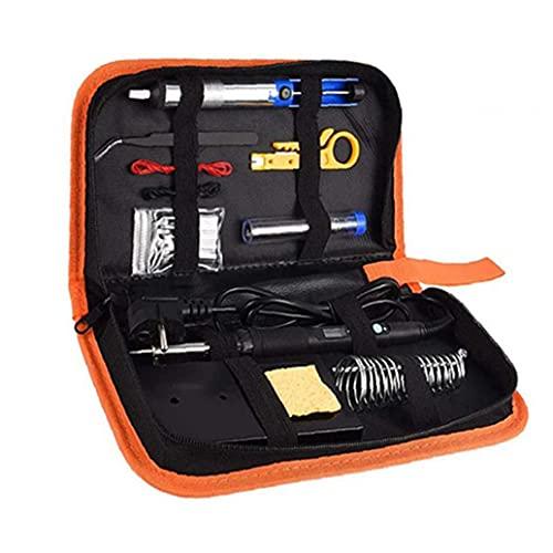 nJiaMe Kit del Soldador de Temperatura Ajustable 60W Pantalla LCD Digital con Soporte Consejos Pinzas Bomba desoldadura Duradero