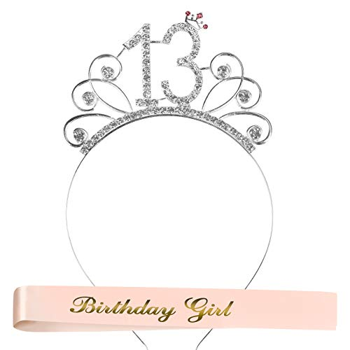 JOOPOM Crown Mujer Tiara de Cumpleaos Corona Diadema de Diamantes de Imitacin Tiara de Cristal con Bufanda de Cumpleaos Reina Accesorios de Disfraces Decoraciones Regalo de Nia (13 aos)
