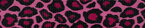 Country Brook Design 1 Inch Pink Leopard Print Polyester Webbing, 5 Yards