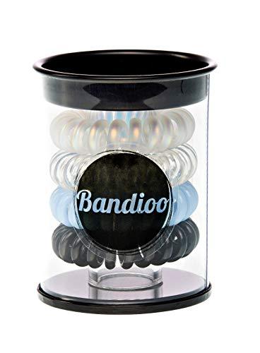 BANDIOO (1 x 4 Stück) Telefonkabel HAARGUMMIS + BOX für Mädchen, Frauen und Damen - buntes Haarschmuck Haarband Gummi Pferdeschwanz Accessoire Beauty Set - Kleine Geschenkidee (Blue Ocean)