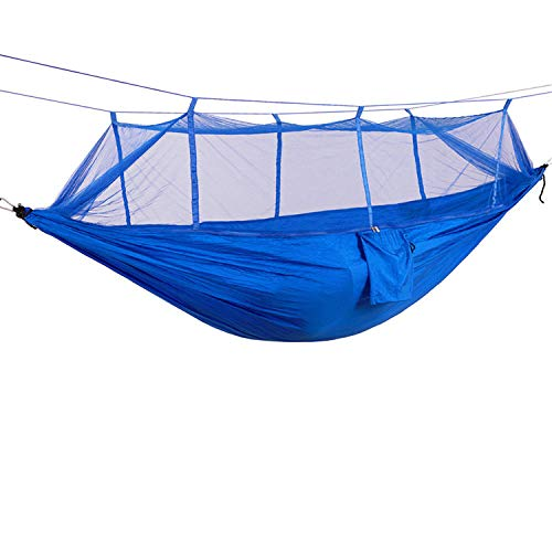 Portable Camping Hammock with Netting Lightweight Parachute Hammock for Backpacking Travel Beach Backyard Patio Hiking (Blue,260140CM)