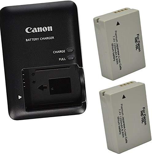 Canon CB-2LC Charger for Canon NB-10L Li-ion Battery compatible with Canon PowerShot G1 X, G3-X, G15, G16, SX40 HS, SX50 HS,SX60 HS +2 Bonus Battery!