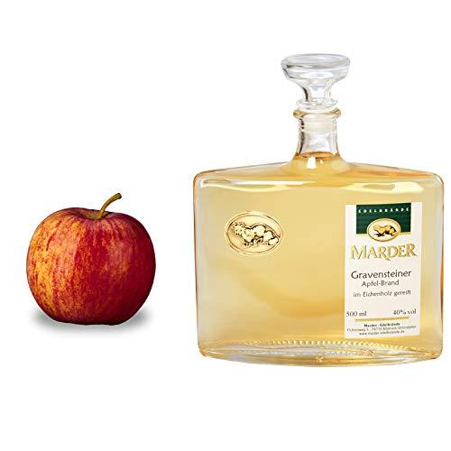 Gravensteiner Apfel-Brand im Holzfass gelagert mild, angenehm wärmend mit langem fruchtigen Nachhall in der 500 ml Karaffe
