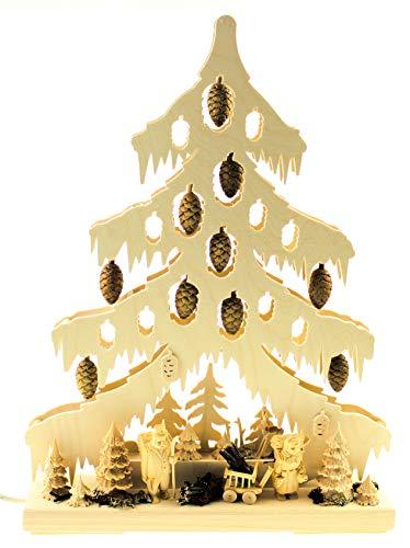 bb-10 Shop 3D Schwibbogen Waldarbeiter mit Geschnitzte Figuren und braune Zapfen Original Erzgebirge Handarbeit RATAGS Doppelschwibbogen wunderschöne Dekoration für Weihnachten
