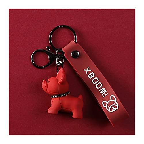 XSJK Bulldog Francés Llavero PU Cuero Perro Animal de Navidad Llaveros para Mujer Bolsa Colgante Joyería Coche Llavero Llavero 624 (Color : Red, Wristband Type : Soft Glue)