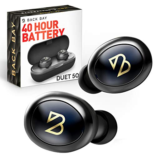 Duet 50 Bluetooth 5.0 Wireless Earbuds - [Featured in Rolling Stone, Forbes] 40 Hour Long Battery Life w/ Charging Case. Sweatproof Truly Wireless APTX Headphones for Running. TWS Microphone for Calls