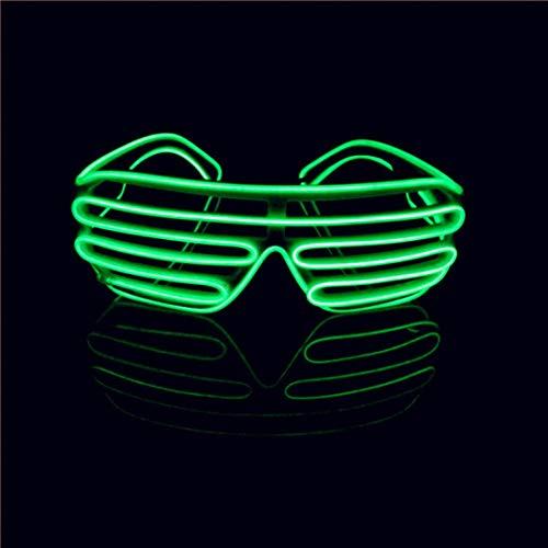 LERWAY LED Brille, EL Neon Partybrille Aufleuchten Glühen Sonnenbrille zum Erwachsene Kinder Weihnachtsdekoration Neujahr im Dunkeln Rave Club Bar Disco Kostüm Geburtstag Dekoration (Grün)