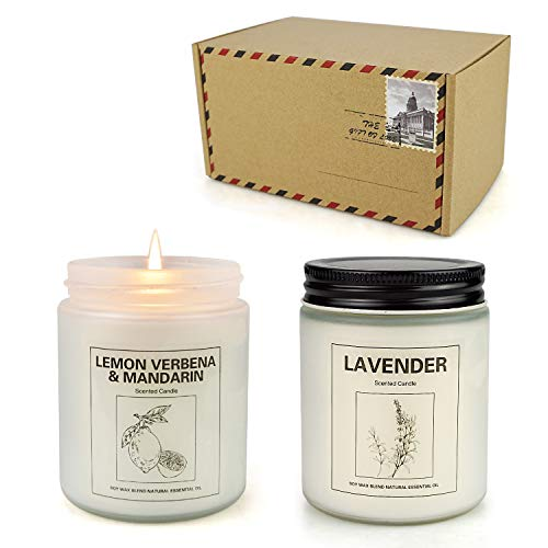 Lavender and Lemon Verbena Candle, Home Scented Soy Candle Set, Aromatherapy Candle 2 pcs, Soy Wax Set, Women Gift, Mother's Day Gift with Strongly Fragrance Scent Oils Jar Candles