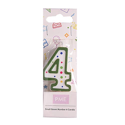 PME CA054 Candela Numero 4 Piccola, Cera, Verde, 4.3 cm