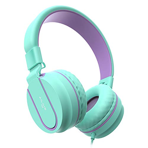 AILIHEN Kids Headphones for Children Boys Girls with Microphone Foldable Adjustable Headsets for School Cellphones Computer iPad Tablet(Green)