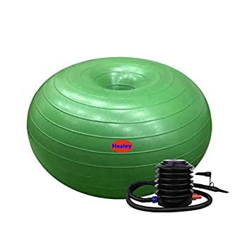 Nesley inflatable donut ball with foot pump 50cm diameter x 28cm height,flexible seating classroom furniture ,exercise ball for at the gym or home,great for yoga ball ,chair and kids balance on balls