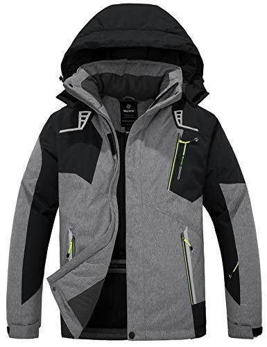 Wantdo Men's Windproof Ski Jacket Mountain Winter Snow Coat Warm Snowboard Jacket Outwear Grey M