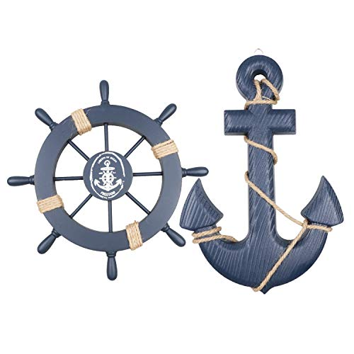 "Meching 2 Pack 11"" Nautical Beach Wooden Ship Wheel and 13"" Wood Anchor with Rope Nautical Boat Steering Rudder Wall Decor Door Hanging Ornament Beach Theme Home Decoration(Dark Blue)"