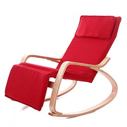 Xiaolin Fauteuil à Bascule inclinable Loisirs Chaise Chaise de Balcon Fauteuil en Bois Massif Unique Chaise à Dossier (Couleur : Red)