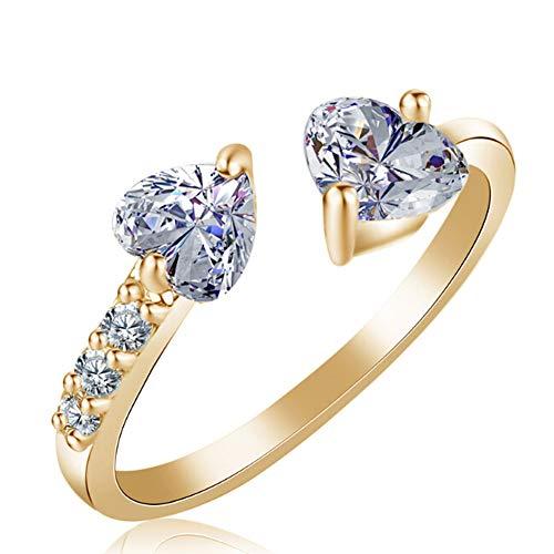 Trifycore Elegant Women's Ring Full Artificial Diamond Double Heart Adjustable Open Ring for Lady Girls Birthday Gift Gold, Elegant Women's Ring
