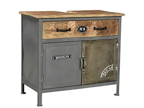 Woodkings® Bad Waschbeckenunterschrank Pinetown Metall recyceltes Massivholz antik, Unterschrank Vintage, Design, Badmöbel, Industrial Stil Metall Holz Mix